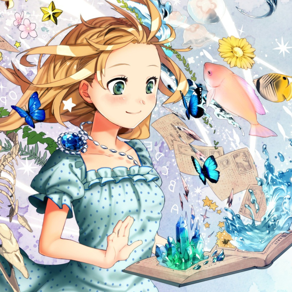 Cute anime girl with book wallpaper for hp touchpad - Wallpaper anime hp ...