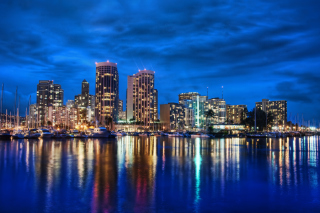Free Waikiki Skyline At Night Hawaii Picture for Android, iPhone and iPad