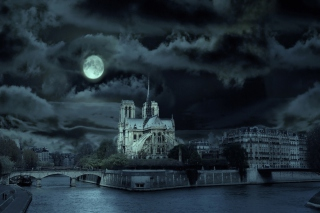 Free Notre Dame De Paris At Night Picture for Android, iPhone and iPad