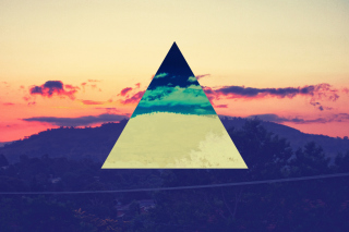 Sunset Inverted Colour Triangle Wallpaper for Android, iPhone and iPad