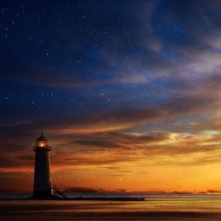 Lighthouse at sunset - Obrázkek zdarma pro 208x208