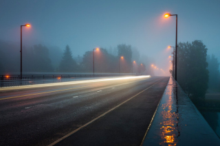 Road in Fog Background for Android, iPhone and iPad