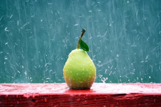 Green Pear In The Rain Picture for Android, iPhone and iPad