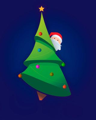 Santa Hising Behind Christmas Tree - Obrázkek zdarma pro iPhone 6