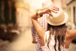 Summer Girl In Panama Hat Wallpaper for Android, iPhone and iPad