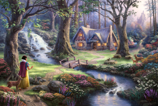Thomas Kinkade, Snow White Picture for Android, iPhone and iPad