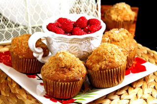 Muffins and Raspberries Background for Android, iPhone and iPad