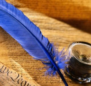 Blue Writing Feather - Obrázkek zdarma pro 1024x1024