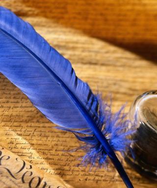 Blue Writing Feather - Obrázkek zdarma pro Nokia X7