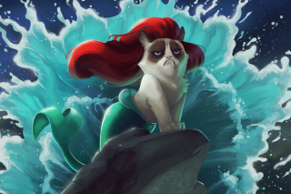 Grumpy Cat Mermaid Wallpaper for Android, iPhone and iPad
