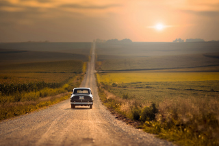 Retro Car on Highway Wallpaper for Android, iPhone and iPad