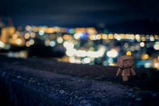 Danbo Walking At City Lights Wallpaper for Android, iPhone and iPad