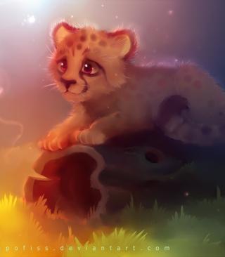 Cute Cheetah Painting - Obrázkek zdarma pro Nokia C2-00