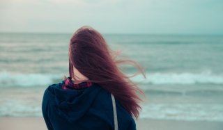 Girl Looking At Sea Wallpaper for Android, iPhone and iPad