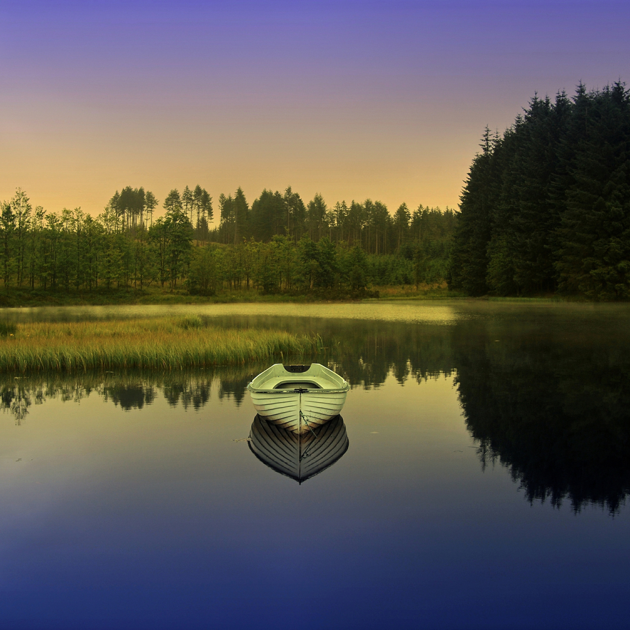 Лодка на берегу зеленого озера  № 2493041 бесплатно