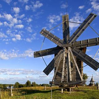 Kizhi Island with wooden Windmill - Obrázkek zdarma pro 128x128
