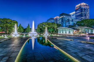 Wadakura Fountain Park in Tokyo Background for Android, iPhone and iPad