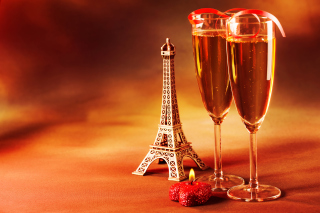 Paris Mini Eiffel Tower And Champagne Wallpaper for Android, iPhone and iPad