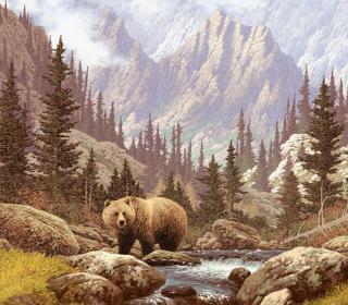 Bear At Mountain River - Obrázkek zdarma pro 208x208