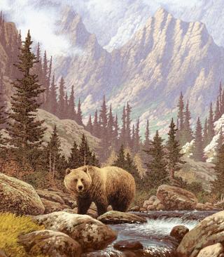 Bear At Mountain River - Obrázkek zdarma pro 352x416