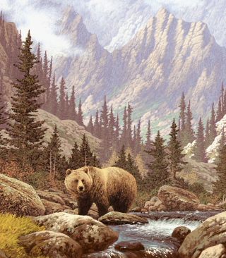 Bear At Mountain River - Obrázkek zdarma pro Nokia C2-00