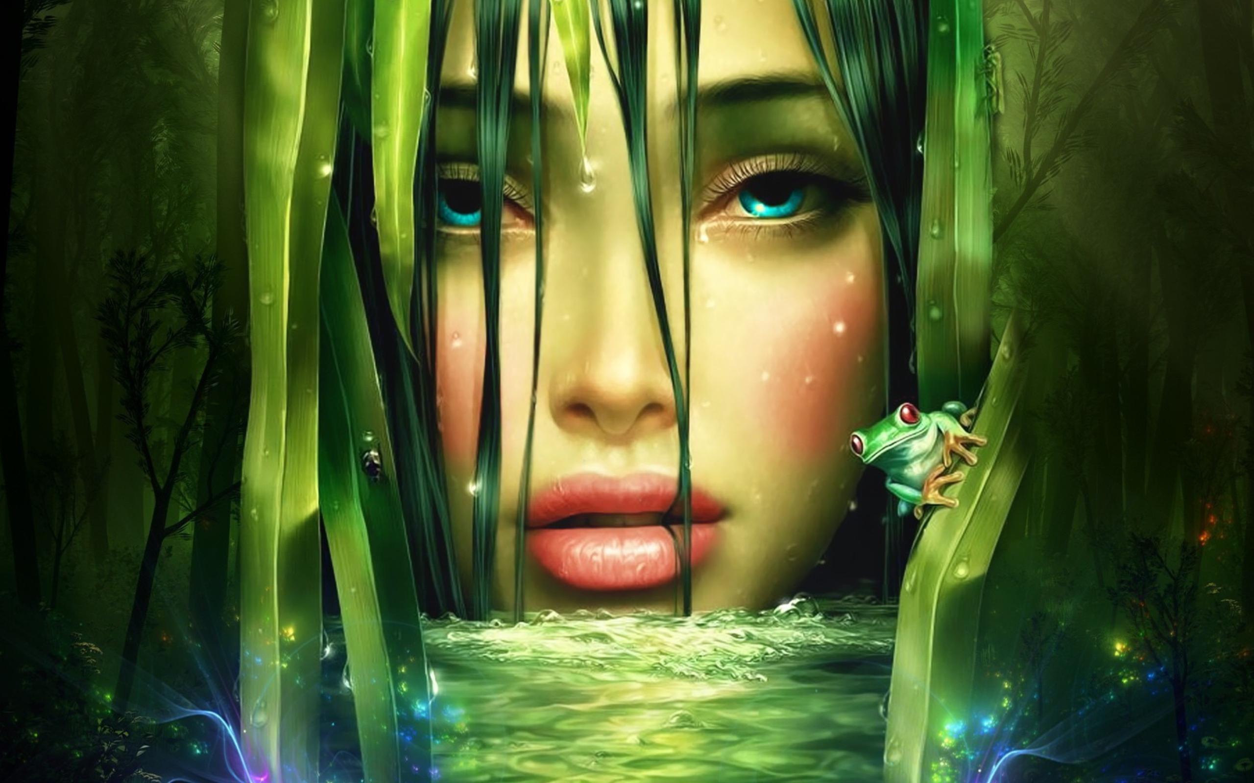 Девочка с зелеными темнями  № 176509 бесплатно