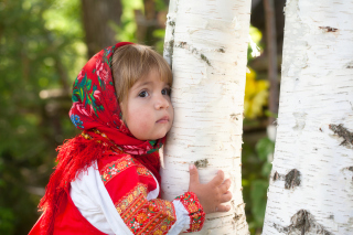 Little Russian Girl And Birch Tree Background for Android, iPhone and iPad