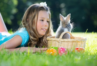 Girl And Fluffy Easter Rabbit Wallpaper for Android, iPhone and iPad