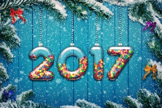Happy New Year 2017 on Snowfall Texture Picture for Android, iPhone and iPad