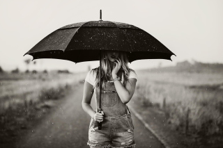 Girl Under Umbrella Picture for Android, iPhone and iPad