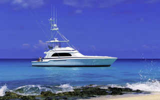 Luxury Yacht in the Mediterranean Sea Background for Android, iPhone and iPad