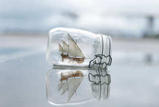 Toy Ship In Bottle Background for Android, iPhone and iPad