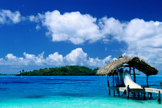 Thatched Hut, Bora Bora, French Polynesia Background for Android, iPhone and iPad