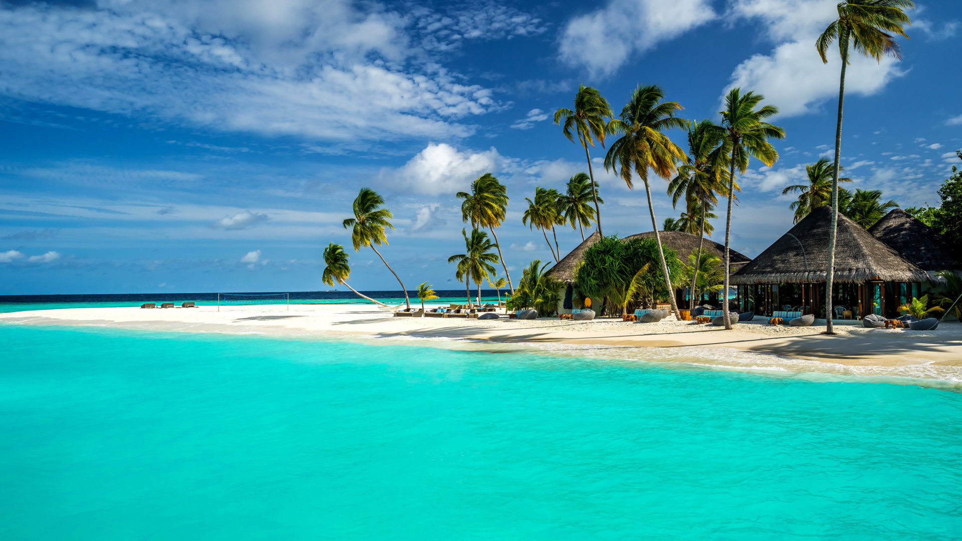 Bungalow Hotel And Villa On Maldives Wallpaper For 1920x1080
