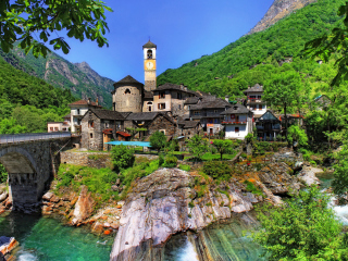 Switzerland Castle in Ticino Background for Android, iPhone and iPad