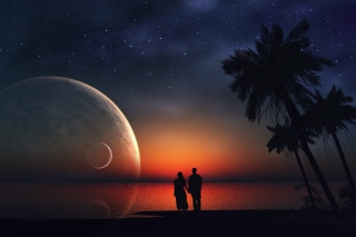Night Romance At Beach Wallpaper for Android, iPhone and iPad
