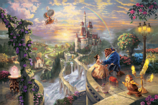 Thomas Kinkade, Beauty And The Beast Wallpaper for Android, iPhone and iPad