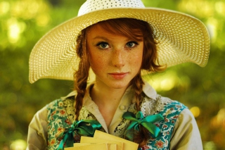Romantic Girl In Straw Hat Background for Android, iPhone and iPad