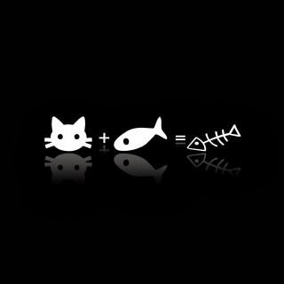 Cat ate fish funny cover - Obrázkek zdarma pro 2048x2048
