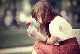 Girl And Purple Flower Picture for Android, iPhone and iPad