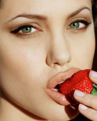 Angelina's Jolie Strawberry - Obrázkek zdarma pro Nokia Asha 203