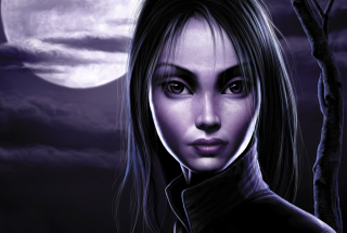 Moonlight Girl Background for Android, iPhone and iPad