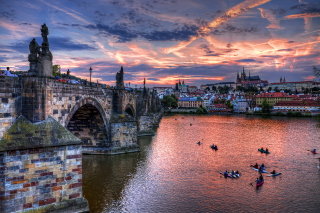 Charles Bridge in Prague Background for Android, iPhone and iPad