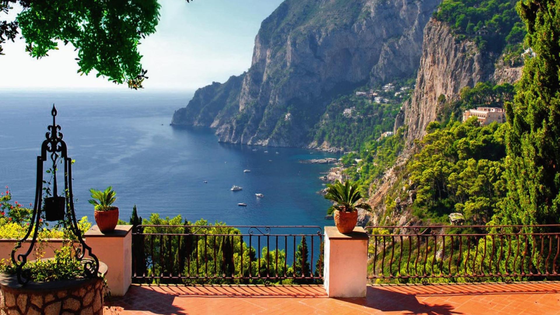 Capri Terrace View Sfondi Gratuiti Per Desktop 1920x1080