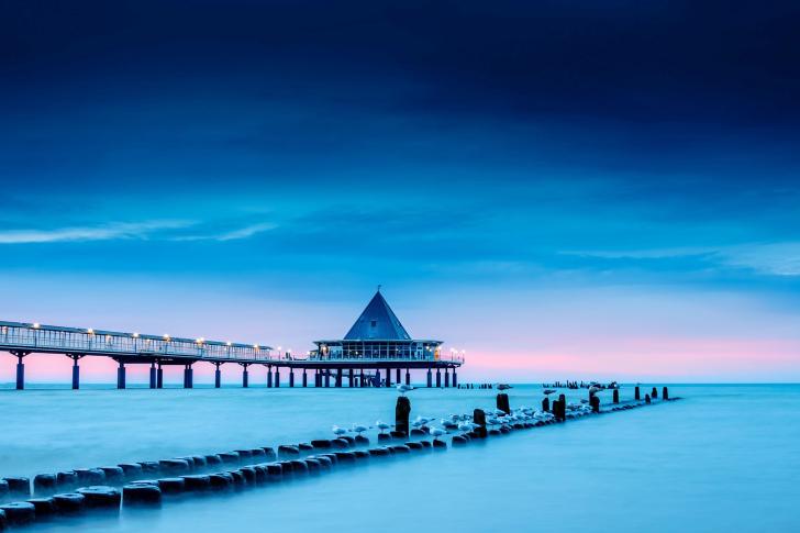 Blue Sea Pier Bridge wallpaper