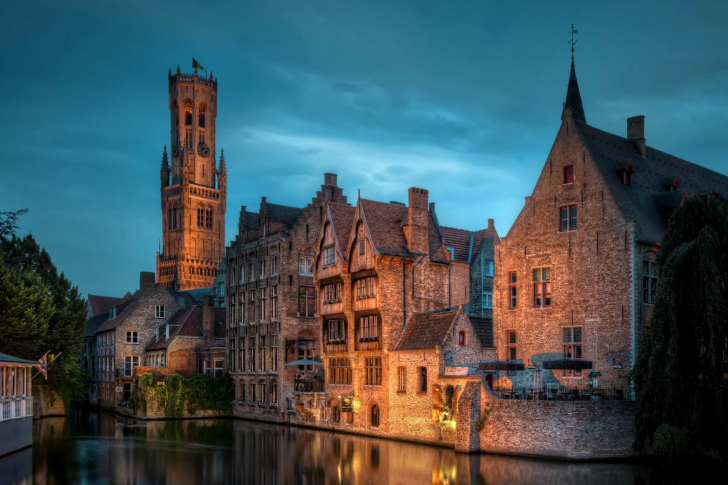 Bruges city on canal wallpaper