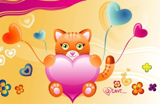 Love Kitten Valentine Wallpaper for Android, iPhone and iPad