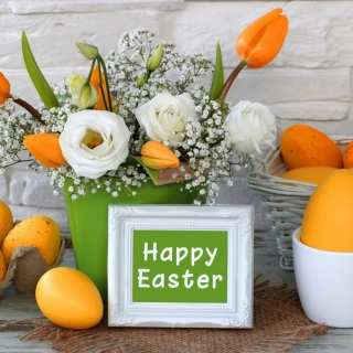 Easter decoration with yellow eggs and bunny - Obrázkek zdarma pro 320x320