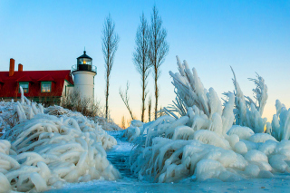 Free Winter Frozen Lighthouses Picture for Android, iPhone and iPad