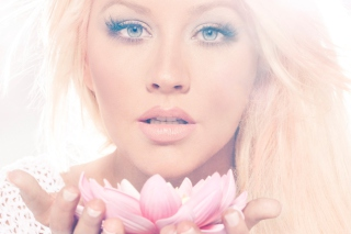 Christina Aguilera With Lotus Background for Android, iPhone and iPad